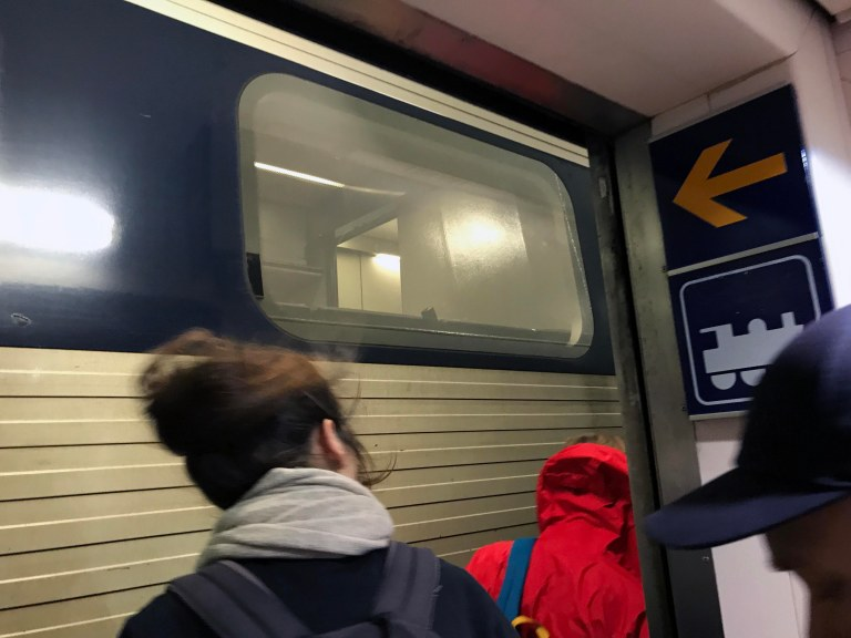 Juna laivassa Interrail Hampuri-Kööpenhamina