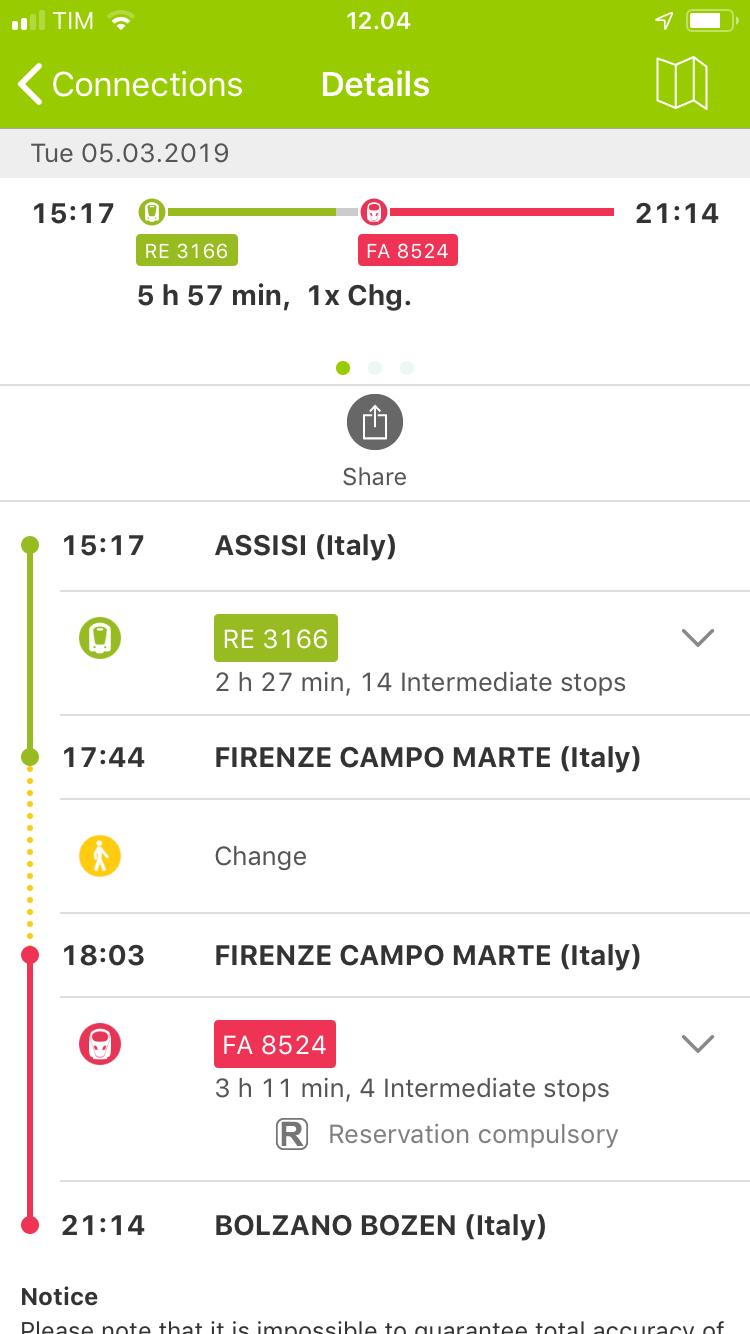 Rail planner sovellus Interrail Junalla Italiaan maata pitkin matkablogi.JPG
