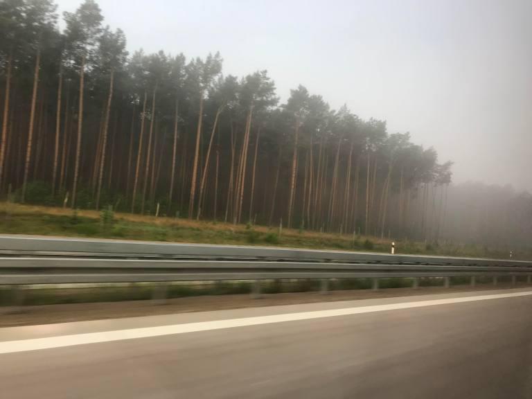 Hetkeen pysähtynyt Bussilla Tallinnasta Berliiniin Aamun sumu Saksassa